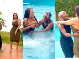 Hajia 4Real's 'Nice B00bs'' Shown As She Falls Into A Pool With Dancegod Lloyd [Watch Video]